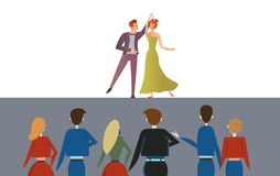 Couple dancing on the stage in front of the audience. Dance club competition, ballroom. Colorful flat vector ilustration royalty free illustration