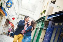 Couple dancing on a street Royalty Free Stock Images