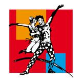 Couple dancing swing. Bright poster with a silhouette of a couple, dancing swing Stock Photo