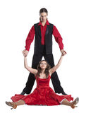 Couple dancing swing. Couple in retro swing clothes isolated over white Royalty Free Stock Photos