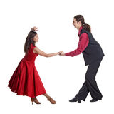 Couple dancing swing. Couple in retro swing clothes isolated over white Stock Images