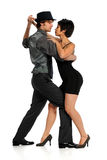Couple Dancing Tango. Isolated over white background Royalty Free Stock Images
