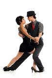Couple Dancing Tango. Isolated over white background Stock Photography