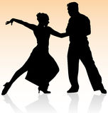 Couple dancing salsa silhouette silhouettes vector tango dance people girl woman man dancers dancer Argentina show isolated pair Royalty Free Stock Photos