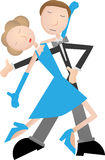 Couple dancing tango, blue dress and tuxedo Stock Photo