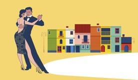 Couple dancing tango in Caminito Street. Buenos Aires. Argentina Stock Photos