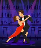 Couple dancing tango in a disco club bar Stock Images