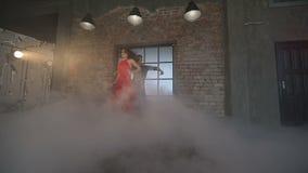 Couple dancing tango in retro room. stock footage