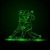 Couple dancing tango. Vector neon illustration. royalty free illustration