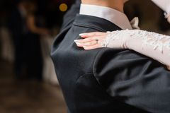 Woman put hand on man shoulder during dance stock photography