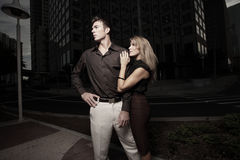 Couple in a dark urban setting Royalty Free Stock Photography