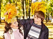 Couple on date autumn outdoor. Royalty Free Stock Photo