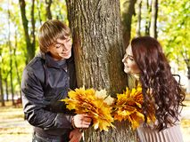 Couple on date autumn outdoor. Stock Photo