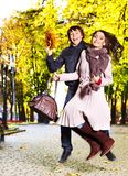 Couple on date autumn outdoor. Stock Image