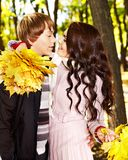 Couple on date autumn outdoor. Royalty Free Stock Photos