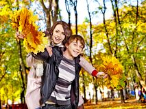 Couple on date autumn outdoor. Royalty Free Stock Photography