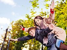 Couple on date autumn outdoor. Stock Photos