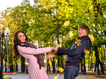 Couple on date autumn outdoor Royalty Free Stock Images