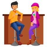 Couple date in bar. flat design. Illustration of Couple date in bar. flat design Stock Photo