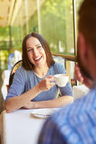 Couple on a date at cafe Royalty Free Stock Photography