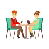 Couple On The Date In Cafe Peering At Their Smartphone And Tablet, Person Being Online All The Time Obsessed With Gadget. Modern Technology Devices And royalty free illustration