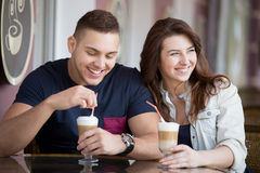 Couple on date at a cafe Stock Images