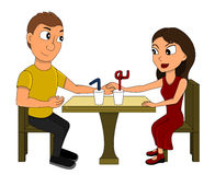 Couple on a date cartoon Stock Images