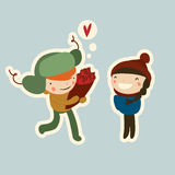 Couple on date. Flat valentine cartoon couple on date in winter Stock Image