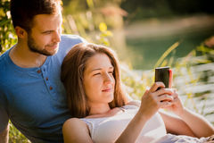 Couple on date in nature Royalty Free Stock Images