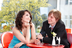 Couple on date in restaurant. Stock Image