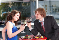 Couple on  date in restaurant. Stock Photography