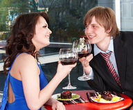 Couple on date in restaurant. Royalty Free Stock Photos