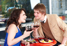 Couple on  date in restaurant. Royalty Free Stock Image