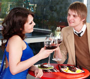 Couple on  date in restaurant. Royalty Free Stock Photo