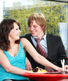 Couple on  date in restaurant. Royalty Free Stock Photography