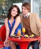 Couple on date in restaurant. Royalty Free Stock Images
