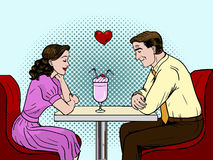 Couple on a date in restaurant. Pop art style  illustration. Valentines day  illustration. . Couple on a date in restaurant. Pop art style  illustration Royalty Free Stock Photo
