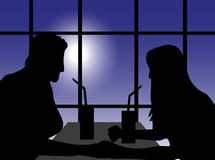 Couple On A Date. Vector illustration of couple on a date silhouette on a blue background Royalty Free Stock Images