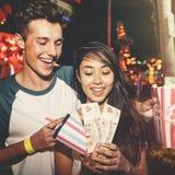 Couple Dating Amusement Park Enjoyment Hugging Concept Royalty Free Stock Image