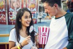Couple Dating Amusement Park Enjoyment Hugging Concept Stock Image