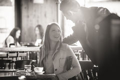 Couple dating at the bar royalty free stock image