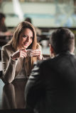 Couple dating at the bar Royalty Free Stock Images