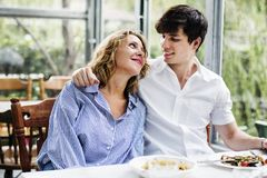 Couple dating in the cafe royalty free stock photos