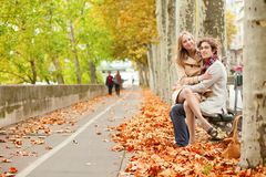 Couple dating at fall Royalty Free Stock Photo