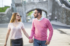 Couple Dating Happiness Traveling Using Smart Phone Stock Photos