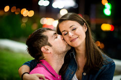 Couple dating at night Stock Image