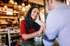 Couple dating in restaurant Royalty Free Stock Images