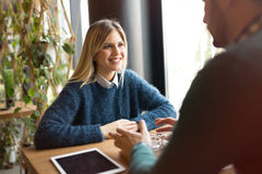 Couple dating in restaurant Stock Photos