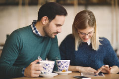 Couple dating in restaurant Royalty Free Stock Photography