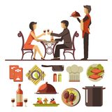 Couple dating in restaurant and set of dishes below. Couple dating in restaurant with standing near waiter and collection of fish and meat dishes and equipments Royalty Free Stock Photos